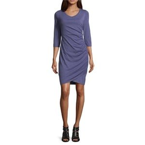 "NWT Scarlett 3/4"" Sleeve Side Ruched Shift Dress"